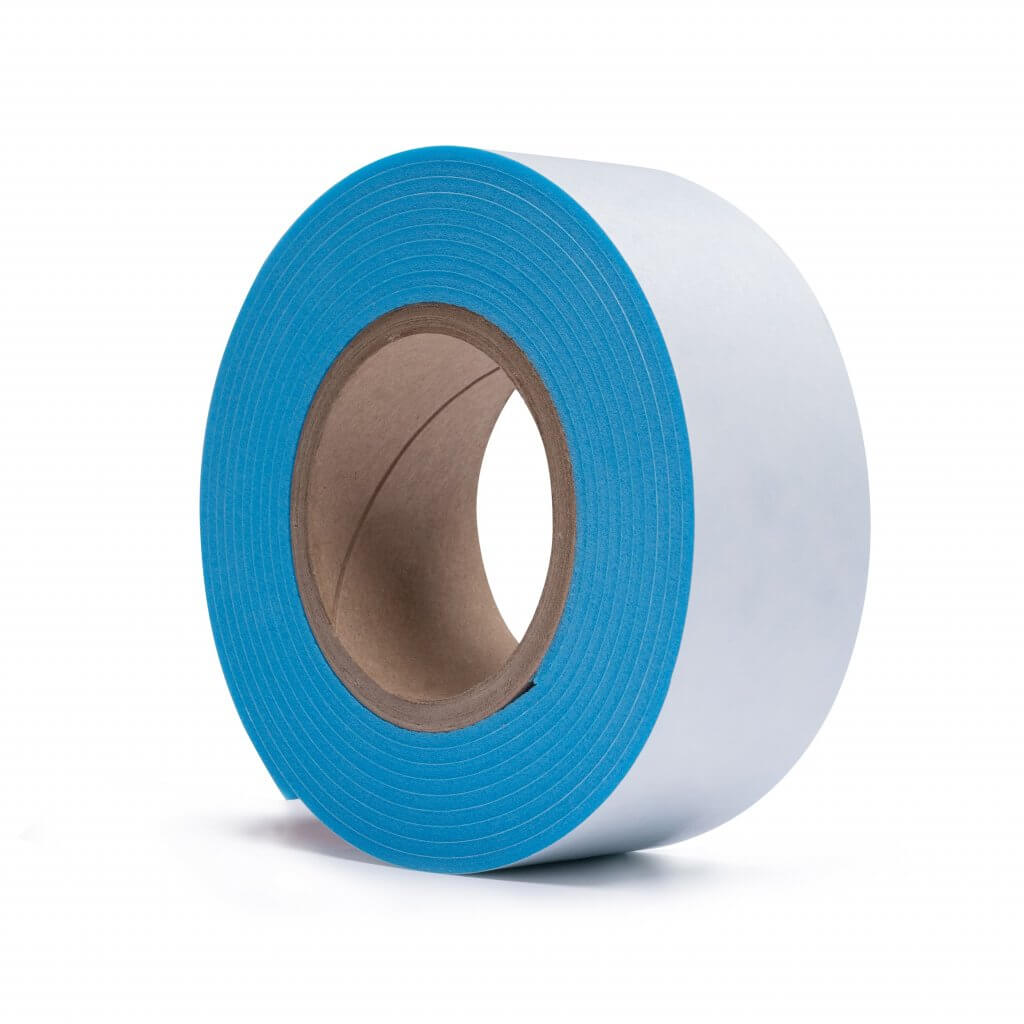 white paper blue foam tape